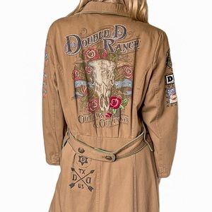 Double D Ranch Embellished Trench Coat in Brown